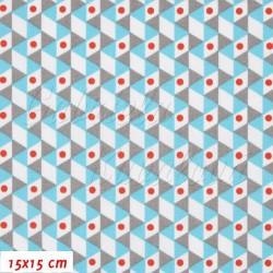 Plátno - Trojúhelníčky tyrkysové šedé a bílé s červenými puntíky, šíře 140 cm, 10 cm