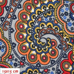 Kočárkovina, Arábie oranžová červená modrá, 15x15 cm