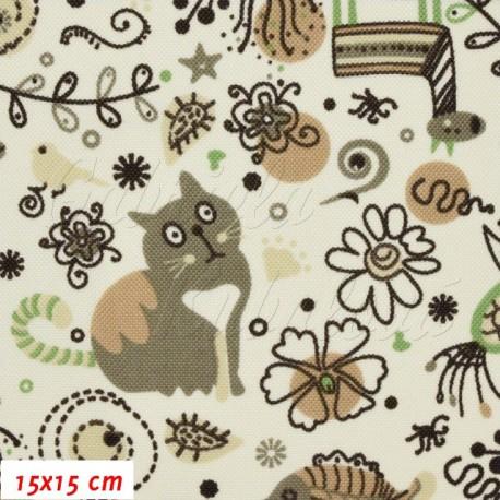 Kočárkovina, Zvířátka s kočkou hnědá na smetanové, 15x15 cm