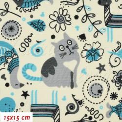 Kočárkovina, Zvířátka s kočkou modré na smetanové,15x15 cm