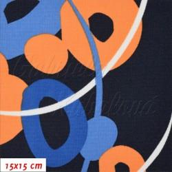 Kočárkovina MAT, Kroužky a čárky oranžové a modré na tm. modré, šíře 160 cm, 10 cm, Atest 1