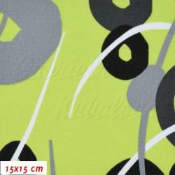 Kočárkovina MAT, Kroužky a čárky šedé a černé na sv. zelené, šíře 160 cm, 10 cm, Atest 1