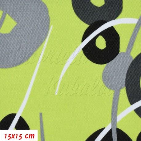Kočárkovina, Kroužky a čárky šedé a černé na sv. zelené, 15x15 cm