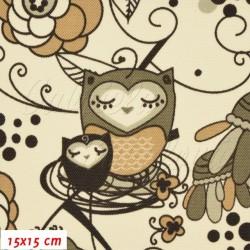 Kočárkovina MAT, Sovy v ráji hnědé na smetanové, šíře 160 cm, 10 cm, Atest 1