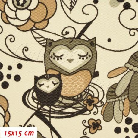 Kočárkovina, Sovy v ráji hnědé na smetanové, 15x15 cm