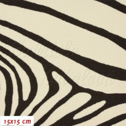 Kočárkovina, Zebra hnědá na smetanové, 15x15 cm