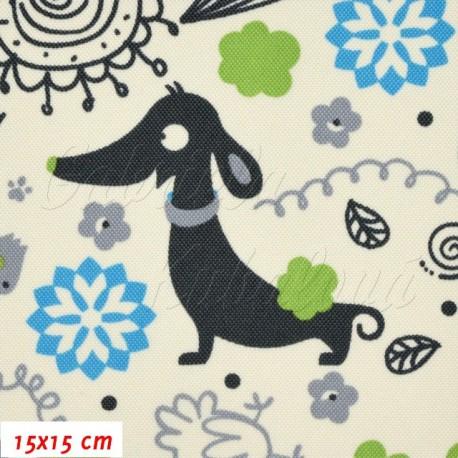 Kočárkovina, Pejsek s kočkou modrá na smetanové, 15x15 cm