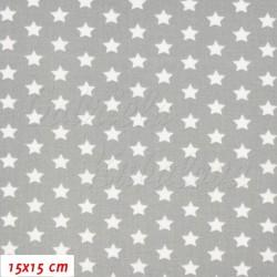 Plátno - Hvězdičky 10 mm bílé na šedé, šíře 150 cm, 10 cm