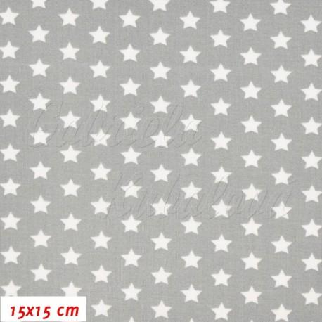 Plátno, Hvězdičky bílé na šedé, 15x15cm