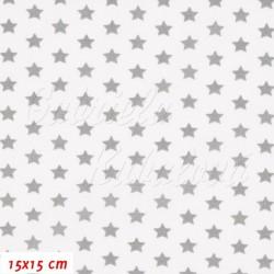 Plátno - Hvězdičky 10 mm šedé na bílé, šíře 150 cm, 10 cm