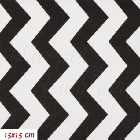 Plátno, Cik-cak černá bílá, 15x15cm