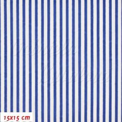Plátno, Proužky bílé a modré, 15x15cm