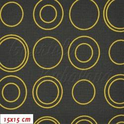 Kočárkovina, Moderní kroužky žlutooranžová na šedé, 15x15cm