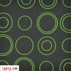 Kočárkovina, Moderní kroužky zelené na šedé, 15x15cm