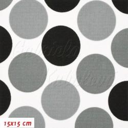Kočárkovina MAT, Velké puntíky šedé a černé na bílé, šíře 160 cm, 10 cm, Atest 1