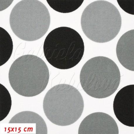 Kočárkovina, Velké puntíky šedé a černé na bílé, 15x15 cm