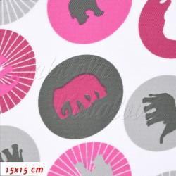 Kočárkovina MAT, Sloni v kolečkách růžoví a šedí na bílé, šíře 160 cm, 10 cm, Atest 1