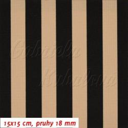 Kočárkovina MAT, Pruhy 18 mm béžové a černé, šíře 160 cm, 10 cm, Atest 1
