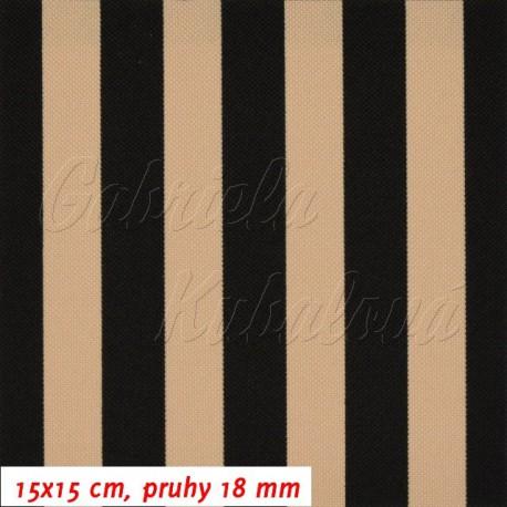Kočárkovina, Pruhy 18 mm béžové a černé, 15x15 cm