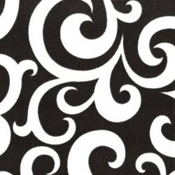 Kočárkovina LESK, Ornamenty bílé na černé, šíře 160 cm, 10 cm