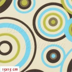 Kočárkovina MAT, Kruhy modré, zelené a hnědé na smetanové, šíře 160 cm, 10 cm