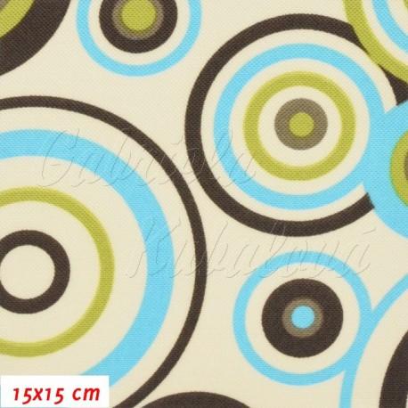 Kočárkovina, Kruhy modré zelené a hnědé na smetanové, 15x15cm