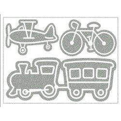 Reflexní nažehlovací potisk - Doprava 4 (Vlak, letadlo a kolo) velké