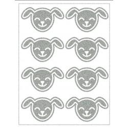Reflexní nažehlovací potisk - Pejsci-hlavy (8 ks)