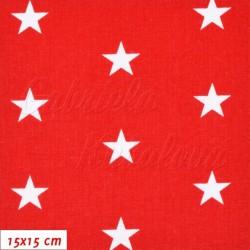 Plátno - Hvězdičky 22 mm bílé na červené, šíře 160 cm, 10 cm