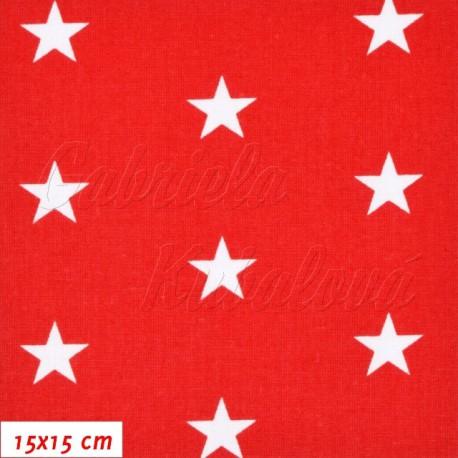 Plátno, Hvězdičky 22mm bílé na červené, 15x15cm