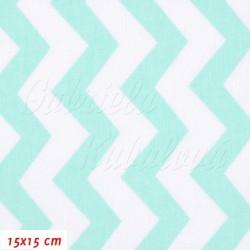 Plátno - Cik-cak mentolový a bílý, šíře 160 cm, 10 cm