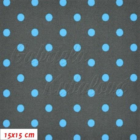 Kočárkovina, Puntíky modré na šedé, 15x15cm
