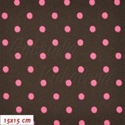 Kočárkovina, Malé puntíky růžové na tm. hnědé, MAT, šíře 160 cm, 10 cm