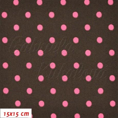Kočárkovina, Puntíky růžové na tm. hnědé, 15x15cm