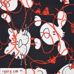 Kočárkovina, Hlavy pejska a kočičky bílé a červené na tm. modré, 15x15cm