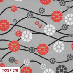 Kočárkovina MAT, Vlnky s kvítečky černé červené a bílé na šedé, šíře 160 cm, 10 cm, Atest 1