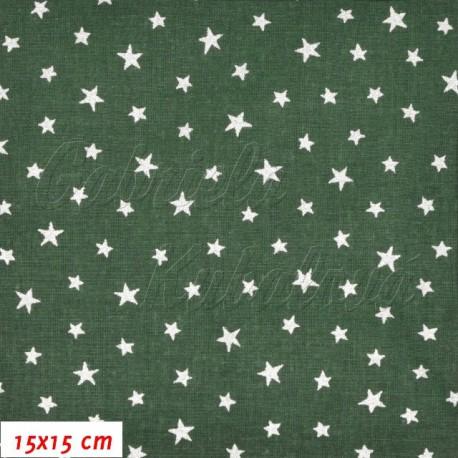Plátno, Hvězdičky stříbrné na tm. zelené, 15x15cm