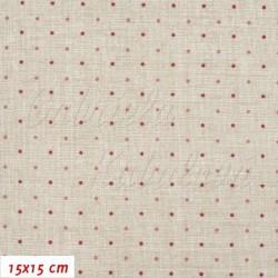 Plátno, Vínové a růžové puntíky 2mm na režném potisku, 15x15cm