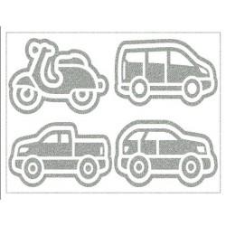 Reflexní nažehlovací potisk - Osobní doprava - 3x auto a skútr