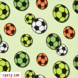 Úplet oboulíc, Fotbalové míče na sv. zelené, 15x15cm