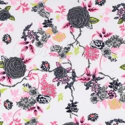 Kočárkovina MAT, Růže šedá s růžovými lístečky na bílé, šíře 160 cm, 10 cm, Atest 1