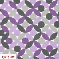 Kočárkovina MAT, Lístečky fialové a šedé, šíře 160 cm, 10 cm, Atest 1