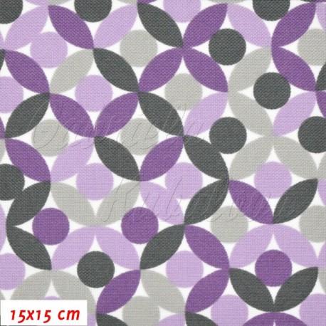 Kočárkovina, MAT Lístečky fialové, 15x15cm
