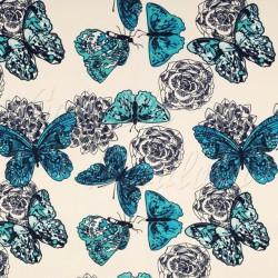Kočárkovina MAT, Motýli modří na smetanové, šíře 160 cm, 10 cm, Atest 1