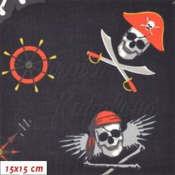 Plátno, Pirátské lebky a vlajky na černé, 15x15cm