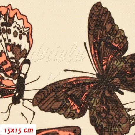 Kočárkovina, MAT Motýli hnědí s oranžovou na smetanové, 15x15cm
