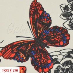Kočárkovina MAT, Motýli červení oranžoví a modří na sv. šedé, šíře 160 cm, 10 cm, Atest 1