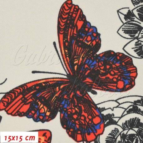 Kočárkovina, Motýli červení oranžoví a modří na sv. šedé, 15x15cm