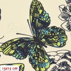 Kočárkovina MAT, Motýli modří a zelení na smetanové, šíře 160 cm, 10 cm, Atest 1