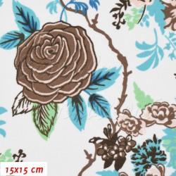Kočárkovina MAT, Růže hnědá s modrozelenými lístečky na bílé, šíře 160 cm, 10 cm, Atest 1